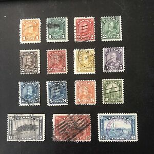 CANADA, SCOTT # 162-176(15),  KGV DEFINITIVE 1930-31  ISSUE USED