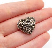 925 Sterling Silver - Vintage Petite Marcasite Love Heart Slide Pendant - P10646