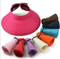 Fashion Roll Up Wide Brim Straw Bow Hat Foldable Adjustable Sun Visor Floppy Cap