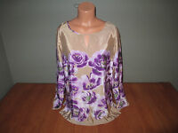 New Womens Size Medium M Jaclyn Smith Beige Purple Floral Top Shirt @@