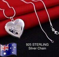 925 Sterling Silver I LOVE YOU Heart Photo Picture Frame Locket Pendant Necklace