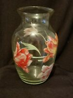 Vintage Hand Painted Clear Glass Vase  Retro