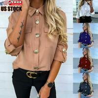 Womens Long Sleeve Lapel T-Shirt Ladies Casual Loose Button Down Blouse Tops Tee