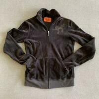 Y2K Juicy Couture velour full zip brown rhinestone tracksuit jacket size small