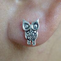 Pair of Silver Owl Stud Earrings 925 Sterling Ear Studs Womens Girls Jewellery