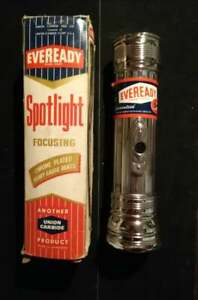 Vintage  Eveready Flashlight Spotlight Chrome Octagon Head Original Box No. 3773