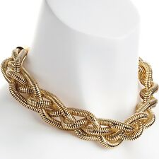Fashion jewellery chunky four row gold colour plaited woven choker necklace
