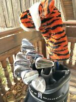 """Rare Nike """"Tiger Woods"""" Limited Edition Irons 2004 + 7.5 Driver + Buick Golf Bag"""