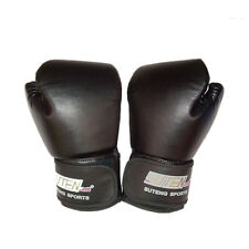 PU Leather Boxing Gloves Sparring Punch Bag Muay Thai Kickboxing Training 3c Black