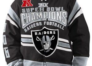 OAKLAND RAIDERS NFL 3 TIME SUPERBOWL CHAMPION COMMEMORATIVE TWILL JACKET $150