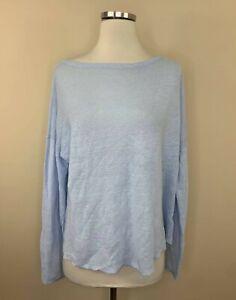 Eileen Fisher Blue Organic Linen Boxy Sweater Long Sleeve Pullover M Medium
