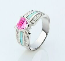 Silver Plated Statement Ladies Simulated Pink Sapphire Ring