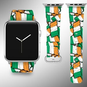 Ireland Flag Apple Watch Band Series SE 6 5 4 3 Leather 40 44 38 40 mm FB
