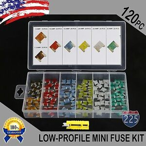 New 120pc Low Profile Mini Fuse Assortment Auto Car Motorcycle SUV fuses Kit US