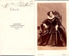 Disdéri, Paris, Actrice, la comédienne Adélaïde Ristori Vintage CDV albumen cart