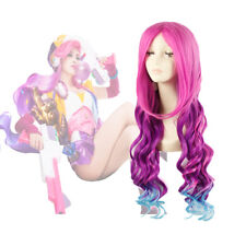 LOL League of Legends Miss Fortune Long Curly Wavy Rose Mixed Blue Cosplay Wig