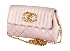 CHANEL Classic Baby Pink Lambskin Leather Quilted CC Pearl Flap Chain Bag Purse