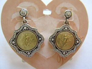 Brighton Victorious Earrings- angels- clear crystals gold & silver color-angels