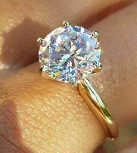 14K Yellow Gold Over 2Ct Round Cut Moissanite Diamond Solitaire Engagement Ring