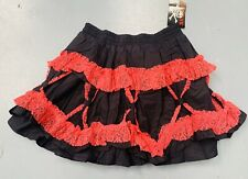 Gothic Black Cotton Skirt With Red Lace One Size