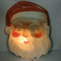 vintage Large Plastic Blow Mold Christmas Santa Claus Face Head Light