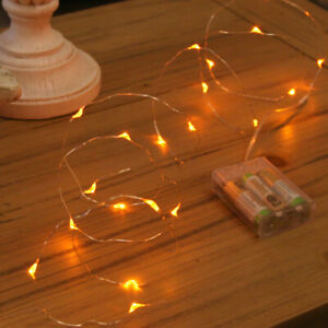 2m Amber Christmas Indoor Battery Power Bedroom Firefly Fairy Wire LED Lights