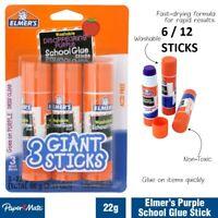 6/12pc Elmer's Washable Disappearing Art/Craft Glue Sticks Office/School Purple