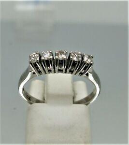 18ct White Gold, Claw Set 5 Stone Diamond Ring