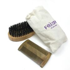 Felicare Natural Boar Bristle Beard Brush and Pearwood Comb Set for Men