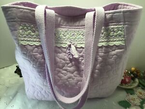 Handmade Cotton~Quilted Lavender Market Bag EXTRA fancy trim Pretty and washable