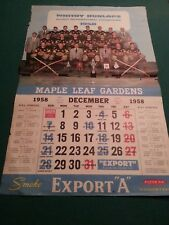 1958 Whitby Dunlops Champs - Maple Leaf Gardens Export A Calendar page - Rare!!