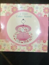 TIERED CAKE STAND BNIB Gorgeous Pink Porcelain Cupcake 2 Tier Cake Stand