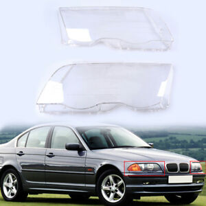 Pair Headlight Lamp Cover Cap Clear Lens Fits BMW 3-Series E46 1998-2001 99 2000