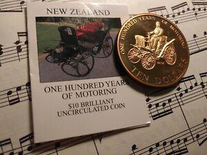 NEW ZEALAND $10 1998 KM114 Brass 100 Yrs Motoring + COA rim ding Mtg.2,000 RARE!