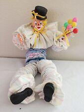 "YOYO DOLL Vintage Taffeta Fabric Quilt Clown Cute Painted Face 19"" Balloons"