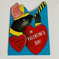 Vtg Valentine Card Marching Band Seal We'll Blow Up a Gay Time