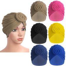 US Cotton Turban Headwrap Knotted Bonnet Beanie Headwear Chemo Hair Loss Hat New