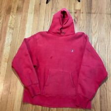 Vintage Champion Hooded Sweatshirt Hoodie Size Large Red USA - Embroidered Logo
