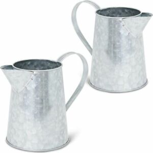 Galvanized Metal Jug for Home Decoration (6 Inches, 2 Pack)