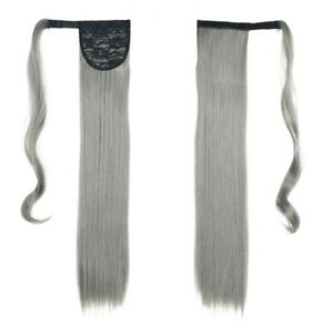 Gray Long Straight Ponytail Wrap Around Ponytail Clip in Natural Hair Extensions
