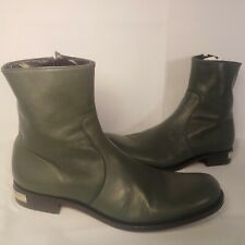 Alessandro Dell'Acqua Italian Leather Men 42 US 9 Green Leather Ankle Zip Boots
