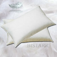 GOOSE FEATHER AND DOWN PILLOW PAIR WITH PURE COTTON COVER 1KG WEIGHT EACH PILLOW