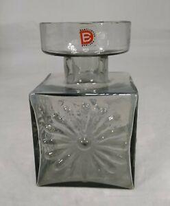 Dartington Glass Midnight Grey Square Daisy Candleholder Vase FT60 Thrower