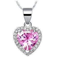 Classic Heart Fire Light Pink Topaz Gemstone Silver Necklace Pendants Xmas Gift