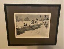 Original Hans Kleiber Signed Sporting Art Ducks Etching - Winter Residents