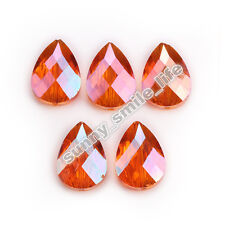 6pcs Wine Red Glass Crystal Faceted Teardrop Beads 18mm Spacer Jewelry Findings