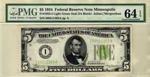 Fr.1955-I 1934 $5 Minneapolis Federal Reserve Note Light Green Seal PMG 64 EPQ