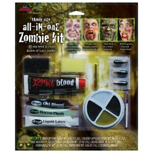 Zombie Make Up Kit Large Family Face Paint Blood Latex Horror Fancy Dress