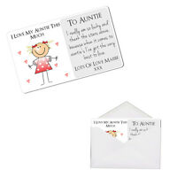 Personalised Auntie Aunty Aunt Love This Much Keepsake Metal Wallet Card Gift