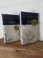 Pair of Ralph Lauren Hoxton Ainslie Cream/Grey Standard Shams 20 x 28 In(E-7)